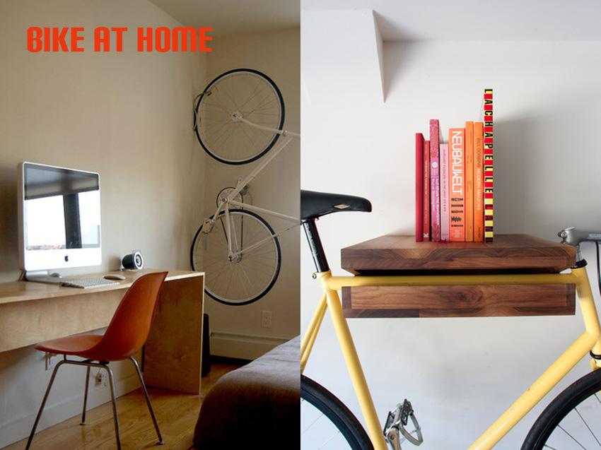 Bild links: Jill Slater für Apartment Therapy Bild rechts:  Bike Shelf von Knife & Saw (www.theknifeandsaw.com)
