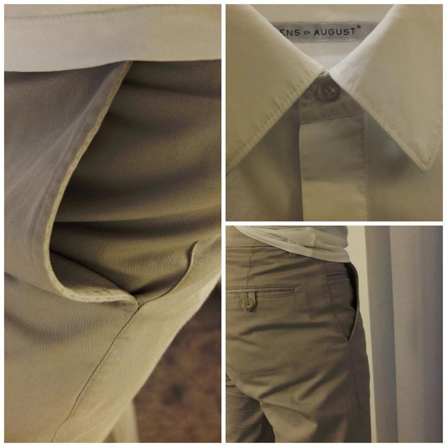 Hellgraue Baumwollchino und Hemd mit verdeckter Knopfleiste - CLEMENS EN AUGUST Bilder: Michael Sarreiter