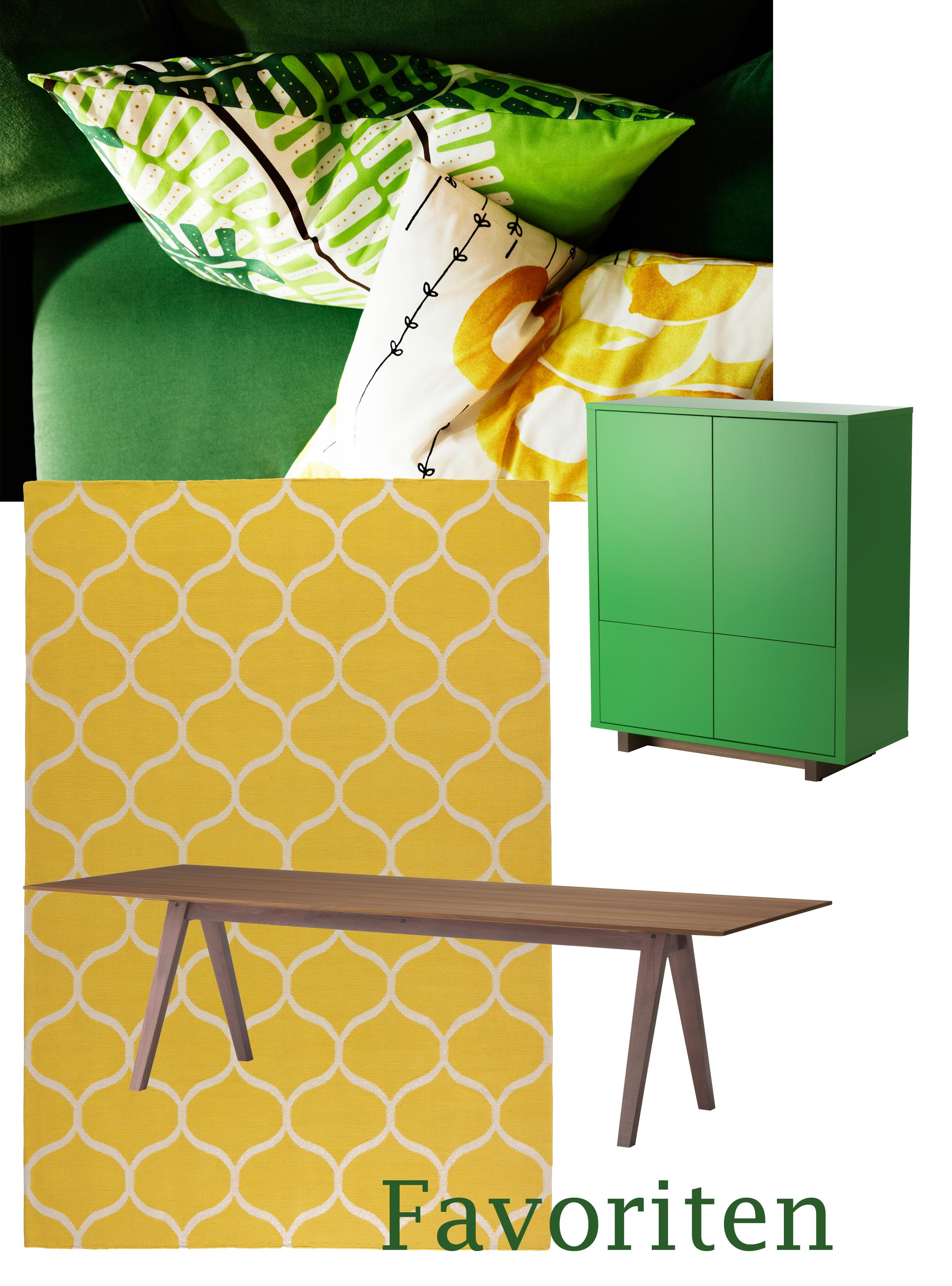 Stockholm Kollektion: Meterware (als Kissen genäht) | Schrank mit Türen & Schubladen | Teppich | Esstisch aus massivem Holz/Nussbaum Furnier. Bilder: IKEA
