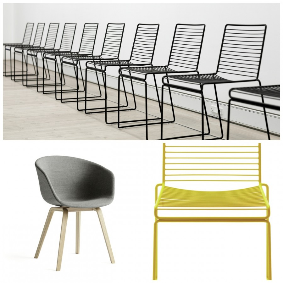 Oben und rechts unten: HEE Chair, Design: Hee Welling I Unten links: ABOUT A CHAIR AAC22, Design: Hee Welling Bilder: HAY